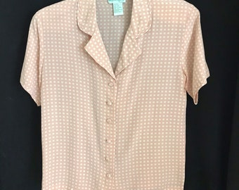 6b3998b1c9a76e Vintage WILLOW RIDGE Pale Pink Silk Button-Up Blouse Pin-up Rockabilly  Polka dot 1970s Size XS