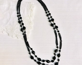 Black Bead Double Strand Necklace, Multifaceted Beads and Black Chain, 25 Inches, 1950s, Made in West Germany