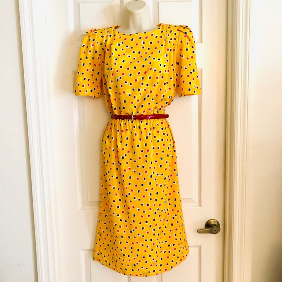 80s Yellow Big Shoulder Dress, Puff Sleeves, Elast