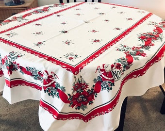 Midcentury Christmas Tablecloth, Cotton Rectangular, Santa with Reindeer and Poinsettias, 63 x 51, Nearly Perfect