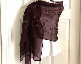 Sequined Sheer Shawl, Cherry-Brown Wrap, Embellished Sequin Swirls