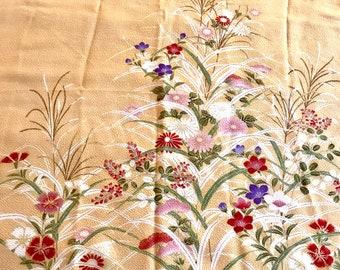 Japan Furoshiki Wrapping Cloth, Silk Floral Scarf, Reusable Gift Wrap Cloth, Japan Telecom Promotional Scarf