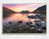 Jordan Pond Colorful Sunrise | Acadia National Park | Lake House Decor | Bar Harbor, Maine | Lake Photography Print | The Bubbles