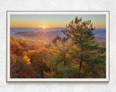 Colorful Mountain Sunset in Shenandoah National Park| Landscape Photography Print | Virginia Wall Art | Cabin Wall Art | Sunset Photo