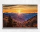 Blue Ridge Mountains Wall Art, Landscape Photography Prints, North Carolina Smoky Mountain Sunset, Log Cabin Wall Decor