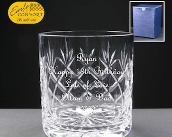 Cut Crystal Whisky Glass With Happy 80th Birthday Stars Design