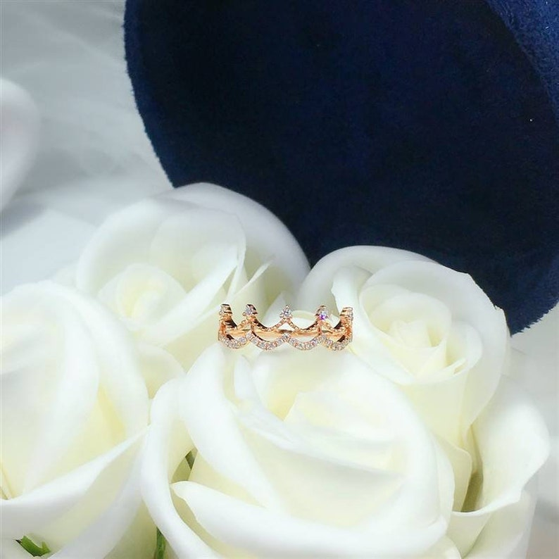 Wedding Ring Gold Engagement Ring Bridal Ring 18K Gold Crown Diamond Ring Natural Diamond Solid Gold Crown Promise Ring Gift