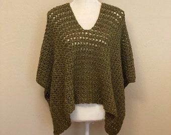 Green Poncho, Crochet Poncho, Boho, Hippie, Earthy, knit
