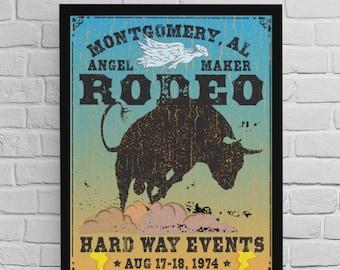 Montgomery Rodeo Premium Art Posters / Angel Maker, Old Rodeo Poster, Hard Way, John Prine, 70s Music Gift, Hold On, Believe, Bucking Bull