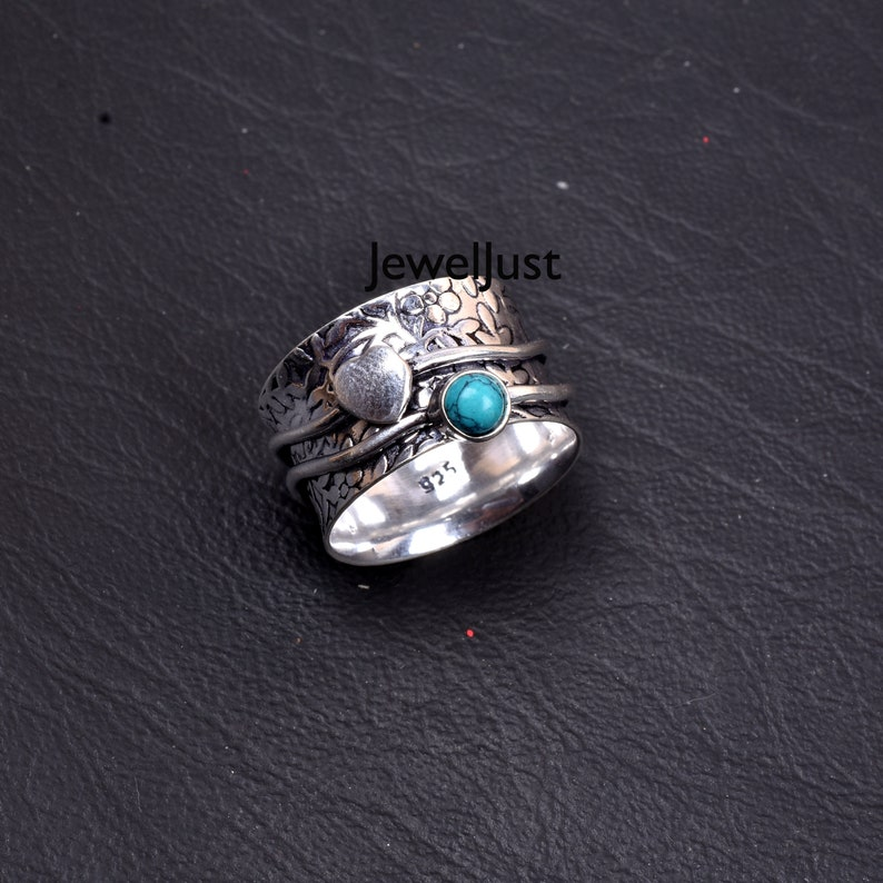 Promise Ring Handmade Ring 925 Silver Ring Mediation Ring Women Ring Anxiety Ring Spinner Ring Gift For Her Turquoise Ring