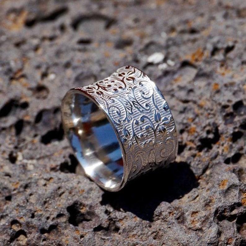 Thumb Ring Bohemian Ring Anniversary Gift Women Ring Designer Ring Plain Silver Ring Wide Bend Ring Flower Bend Ring Handmade Ring