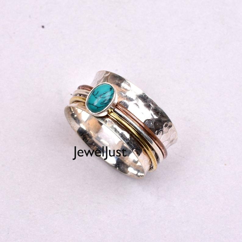 925 Silver Ring Gift Her Anxiety Ring Spinner Ring Turquoise Ring Promise Ring Meditation Ring Handmade Ring Boho Ring Women Ring