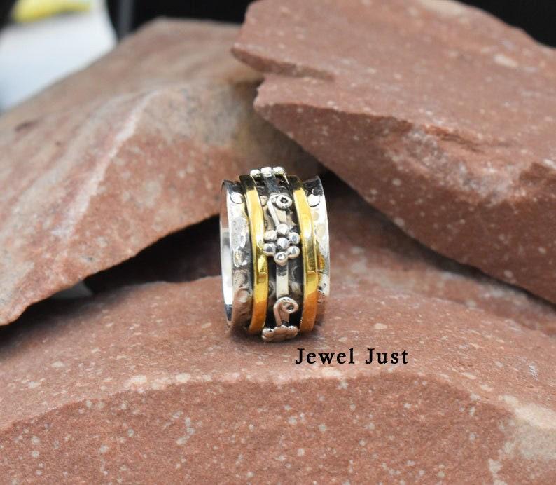 Anxiety Ring Bohemian Ring Spinner Band Designer Ring Worry Ring Meditation Ring Fidget Ring Spinner Ring Gift For Her Promise Ring