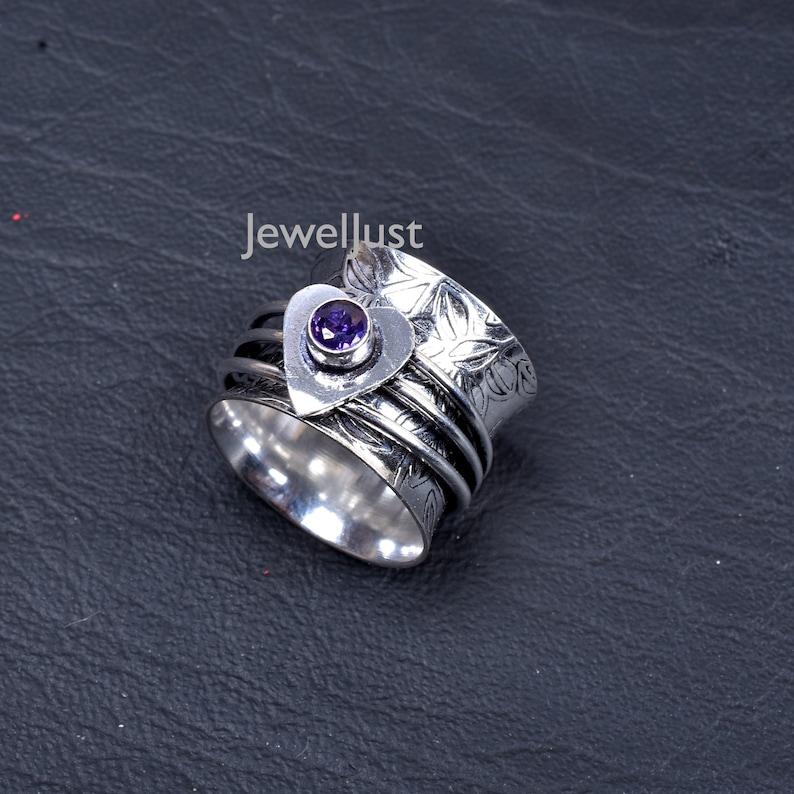 Spinner Ring Thumb Ring Worry Ring Anxiety Ring Amethyst Ring Women Ring Boho Ring Gift For Her Ring Handmade Ring Fidget Ring