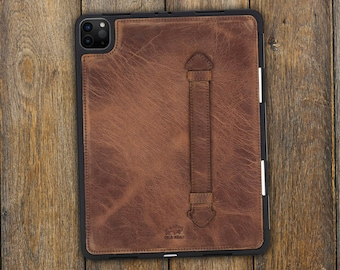 iPad Air and Pro 10.2 / 10.9 / 11 / 12.9 inch Leather Protective Case, Personalized Case Cover with Pen Holder, Sleeve with Handle and Engraving