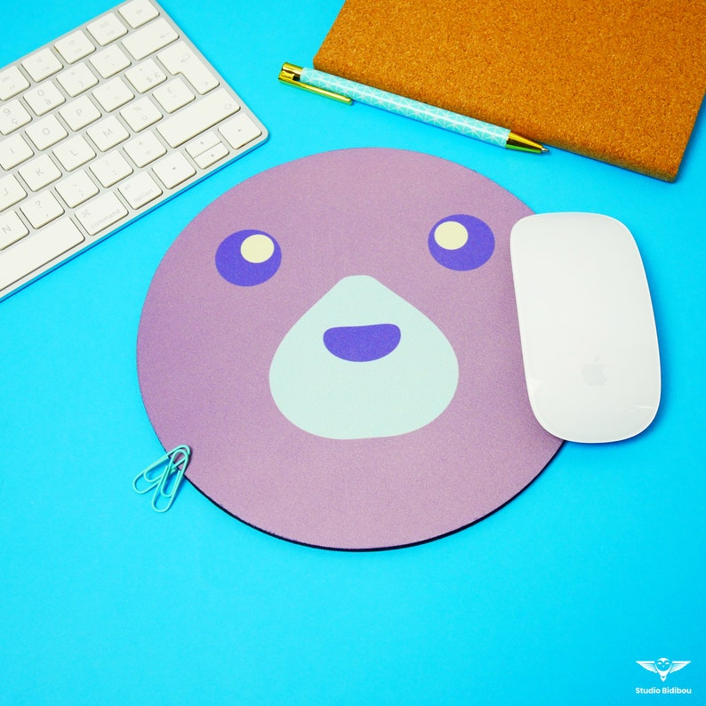 Colorful round animal mouse mat Tapis Ours