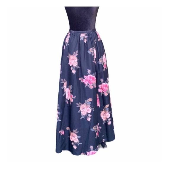 Laura Ashley vintage floral silk skirt 8