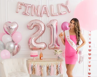 STUNNING 21st Birthday Decorations Set Celebrate Her Legendary 21 Bday Party W Rose Gold Sash Balloon Numbers Cake Topper Banner