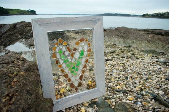 Norfolk Seaglass Collar Con Tallado Corazón Amor Playa Mar De Cristal De Regalo De Navidad
