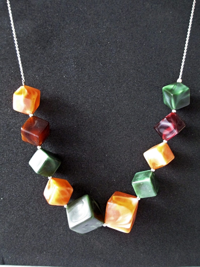 Very rare French Art Deco style marbled celluloid and sterling silver necklace