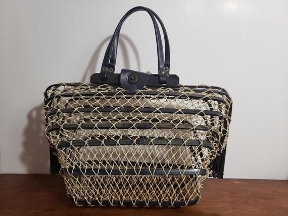 Rare Vintage Fishnet and Bamboo BOHO handbag