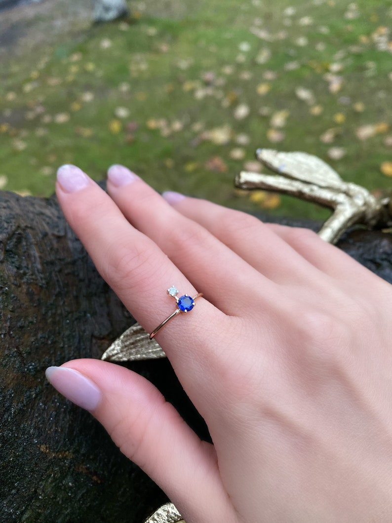 Stackable ring Dainty Diamond Ring Sapphire Ring Diamond Initial Ring Minimalist Ring Diamond and Sapphire Ring
