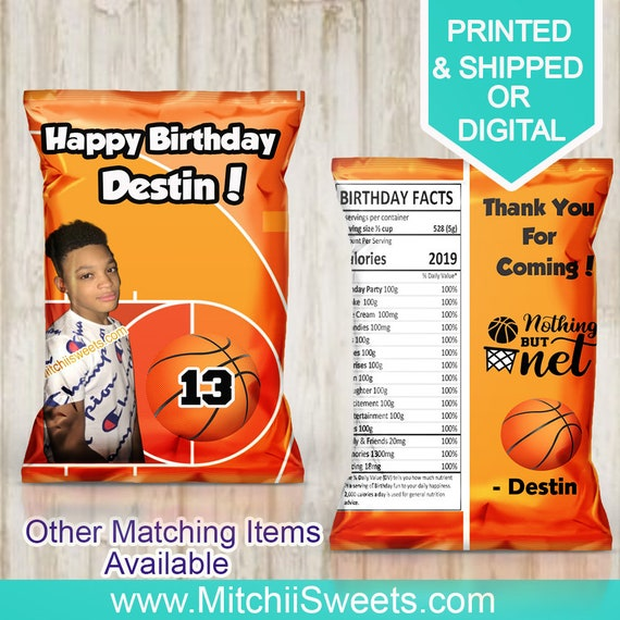 party favors custom bags basketball  chip bags