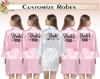 8459907a8a76d Satin Robes Personalised Satin Robes Custom Satin Robes Wedding Robes Bride  Tribe Robes Bridesmaid Robes Satin Robe Gift For Bridesmaid