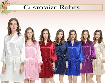 Satin Robes Personalised Satin Robes Custom Satin Robes Wedding Robes  Bridal Robes Bridesmaid Robes Satin Robe Gift For Bridesmaid 03509a319