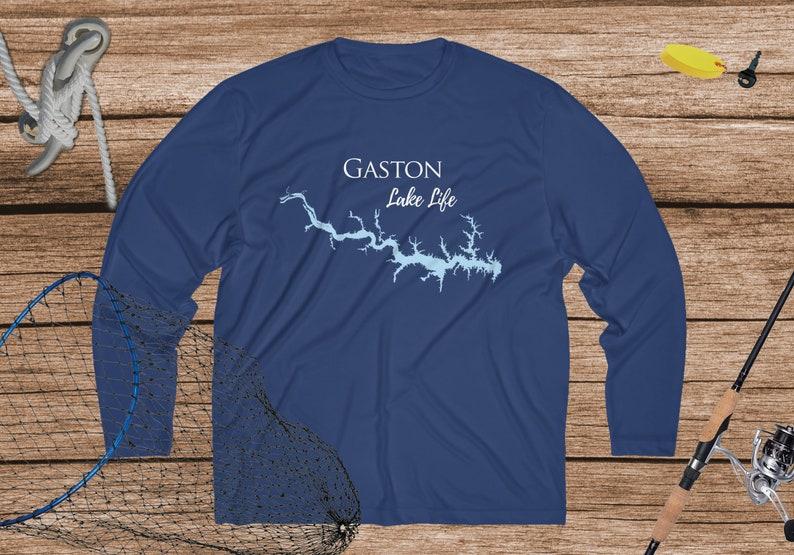 Gaston Lake Life Dri-fit Fishing Shirt Breathable North Carolina Virginia Lake Men/'s Long Sleeve Moisture Absorbing Tee