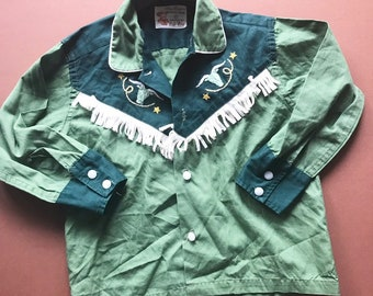 1950s Children s True Vintage Roy Rogers Cowboy Shirt in Green with  beautiful embroidery and tassels 2-3Y d9678da6f
