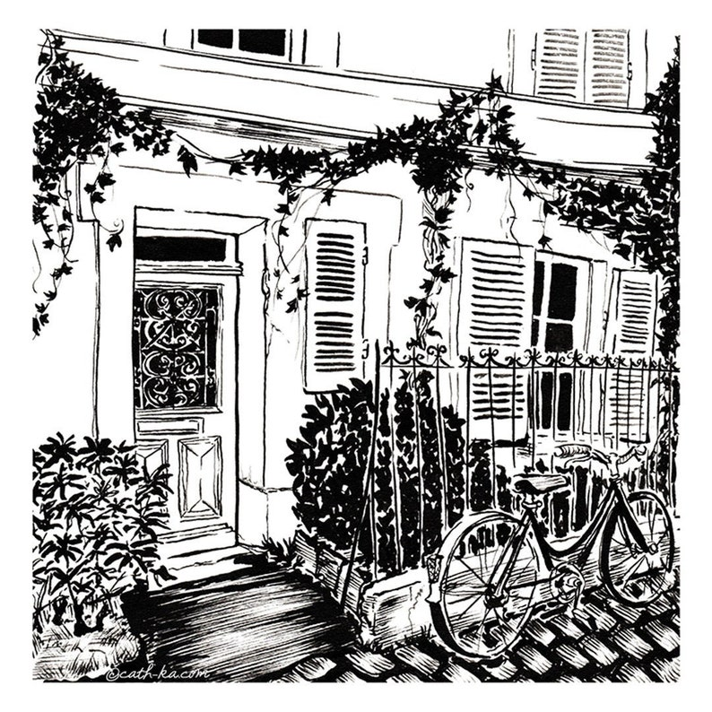 Paris street with bike and ivy  ink illustration print image 0
