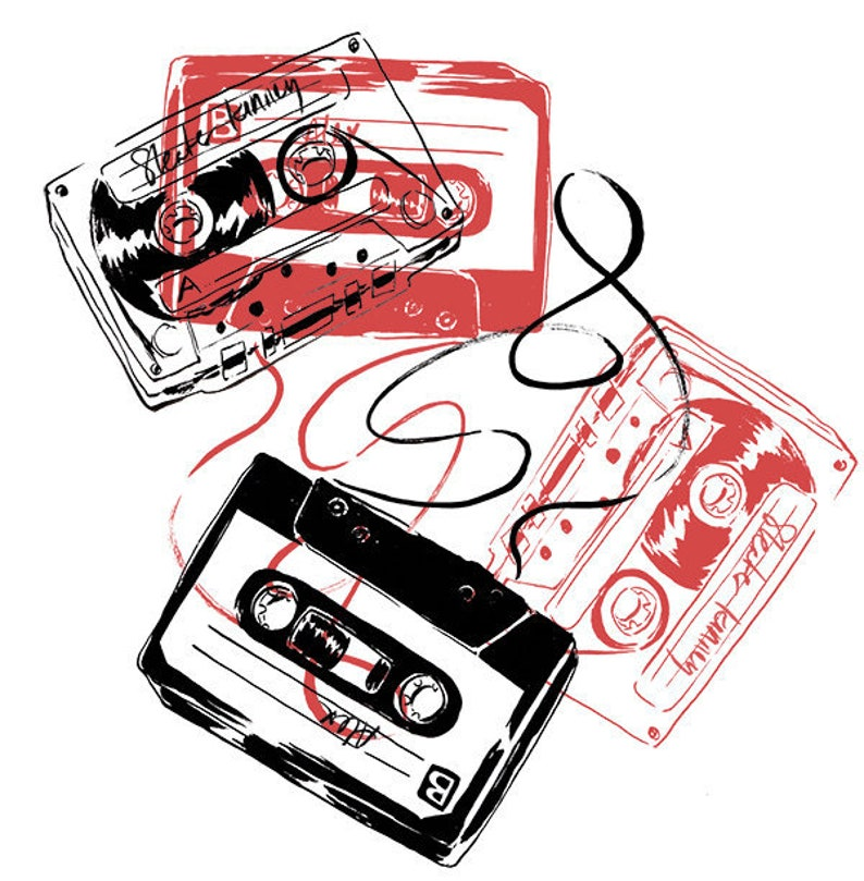 Mixtapes art print vintage silkscreen style illustration image 0