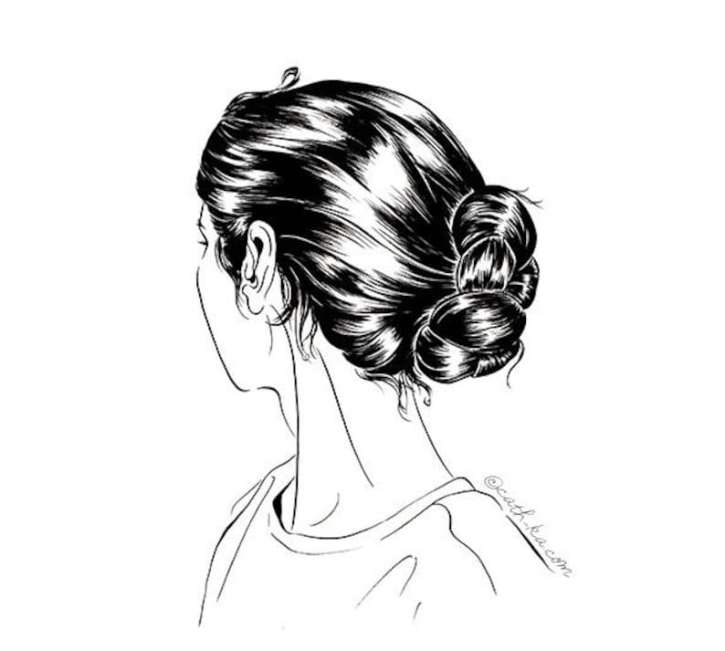 Hair knots illustration  black and white art print image 0