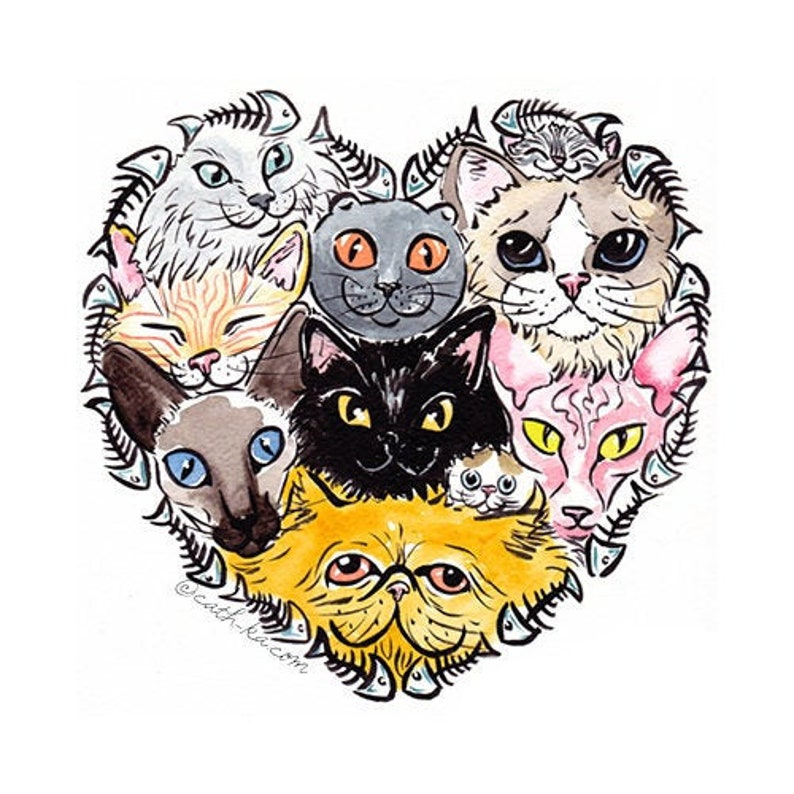 All cats are beautiful  Art print  ink and watercolor image 0