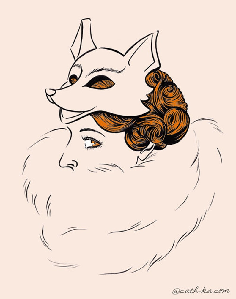 Lupina  fox woman illustration  A3 poster image 0