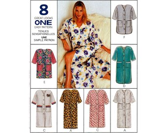 McCall s 8569 V-neck Button Front Robe Dressing Gown with Patch Pockets 3  Lengths Misses Size 12-14 Bust 36 90s Vintage Uncut Sewing Pattern 7312bf88c