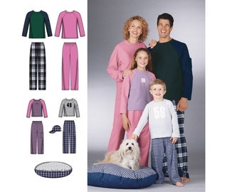 74bb889e62 Simplicity 5271 Matching Family Pajamas Ball Cap   Dog Bed Raglan Sleeve Top  and Pants Unisex Mens Womens XS-XL Teens Childs XS-L Easy Uncut