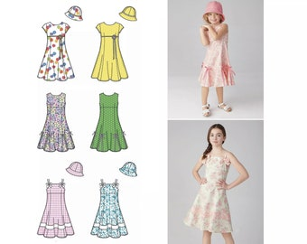 4d0f9dc95ac Simplicity 1456 Girls Fit   Flare Spring Dress Short Sleeve or Sleeveless  Empire Waist Special Occasion Dress + Hat Size 7 8 10 12 14 Uncut