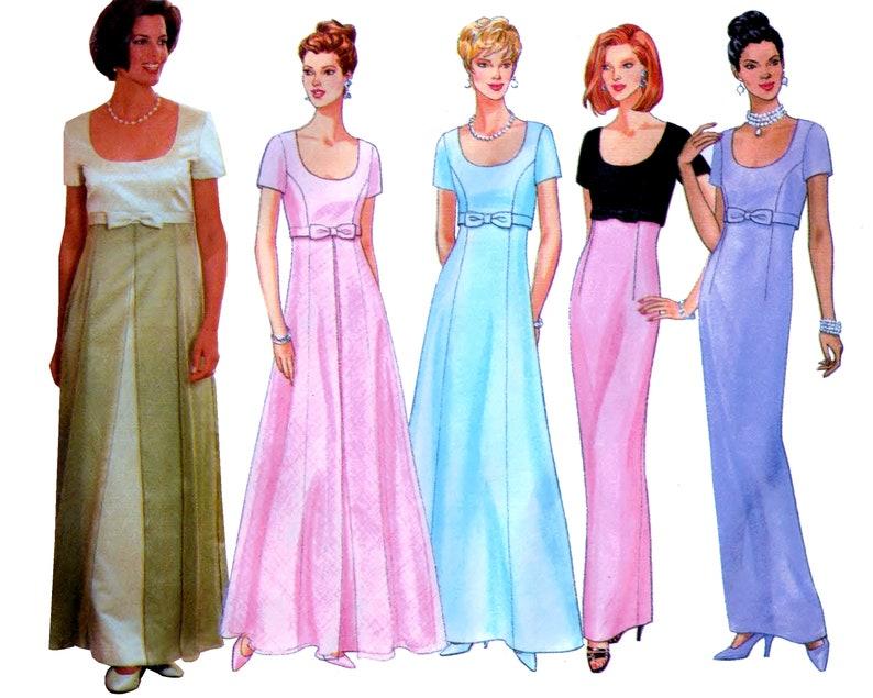 Butterick 4824 Womens Plus Evening Gown Empire Waist Scoop Neck Special  Occasion Bridesmaid Dress Plus & Petite Plus Size 20 22 24 Uncut OOP