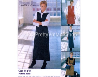 McCall's 9566 90s Modest Jumpers: knee or maxi length Aline jumper sleeveless sundress scoop or split neckline sewing pattern size 20 22 24