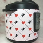 Cupid and Hearts - Instant Pot wrap. Premium non-adhesive waterproof wrap by Instant Wraps. Valentine's day wrap and home decor.