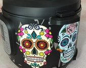 16 Colors - Large Sugar Skulls - Colored Background - Instant Pot wrap. InstaPot, Premium non-adhesive waterproof, magnetic wrap by Instant