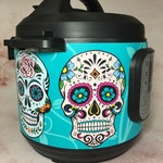 16 Colors! - Large Sugar Skulls - Colored Background - Instant Pot wrap. InstaPot, Premium non-adhesive waterproof, magnetic wrap by Instant