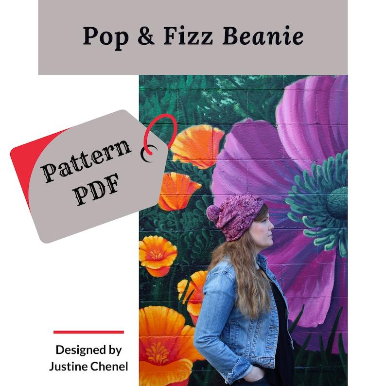 instant download: Pop & Fizz Beanie knitting pattern PDF image 0