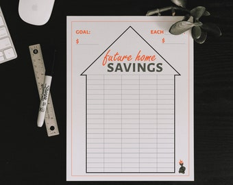 Home Downpayment Future Home Savings Goal Tracker Colorable Printable - by HowToFIRE