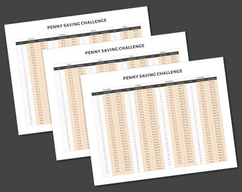 Penny Saving Challenge - 365 Day Tracker Sheets Printable - Daily Monthly Savings Tracker