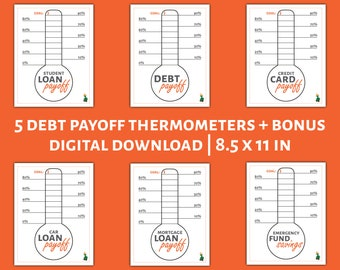 Debt Thermometer Colorable Tracker Printable BUNDLE PACK with BONUS Emergency Fund Goal Tracker - By HowToFIRE