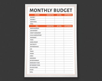 Monthly Budget Simple Tracker Printable - by HowToFIRE