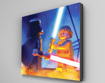 Luke Skywalker Vs Darth Vader Star Wars Minifigure Canvas Wall Art Print 10 x 10inch